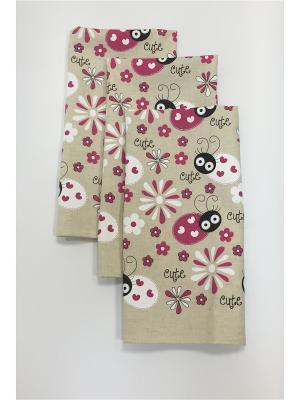 Набор-полотенец, 3 шт A and C Collection. Цвет: розовый, бежевый