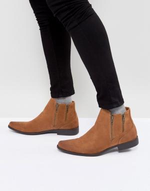ASOS Ботинки челси светло-коричневого цвета из искусственной замши. Цвет: рыжий