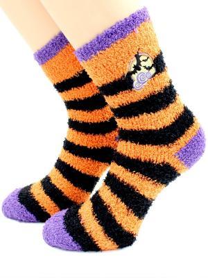 Носки махровые HOBBY LINE. Цвет: черный, оранжевый, сиреневый