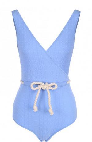 Слитный купальник с V-образным вырезом Lisa Marie Fernandez. Цвет: голубой