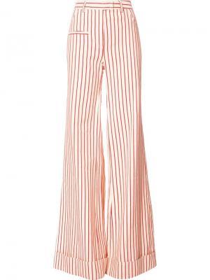 Полосатые широкие брюки Rosie Assoulin. Цвет: красный