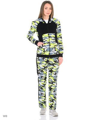 Спортивный костюм NAGOTEX. Цвет: светло-зеленый, белый, черный
