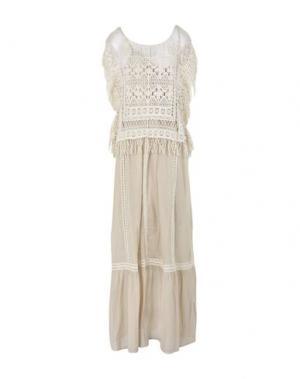 Длинное платье TWIN-SET JEANS. Цвет: бежевый