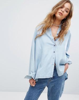 RVCA Свободная рубашка из шамбре. Цвет: синий