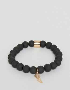 Chained & Able Черный матовый браслет с бусинами и подвеской в виде крыльев. Цвет: черный