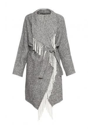 Пальто из хлопка и шерсти с поясом 177448 Anna Rita N. Цвет: серый