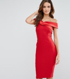 Vesper Платье-футляр с открытыми плечами и атласной отделкой. Цвет: красный
