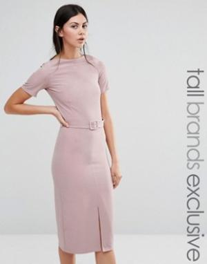 Alter Tall Платье-футляр с разрезом спереди и ремнем. Цвет: розовый