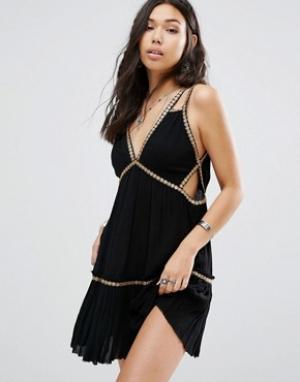 Free People Платье мини Shine Marisol. Цвет: черный