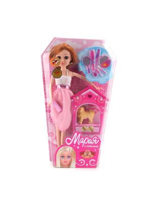 Кукла Карапуз Мария 29см, с гламурной собачкой и аксессуароми. Цвет: розовый, белый