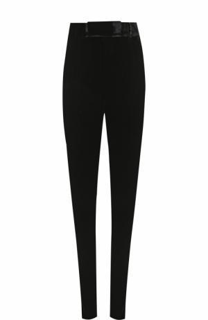 Бархатные брюки прямого кроя с завышенной талией Saint Laurent. Цвет: черный