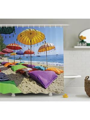 Фотоштора для ванной Зонтики напляже, 180*200 см Magic Lady. Цвет: голубой, бежевый, желтый, зеленый, фиолетовый
