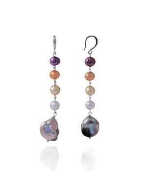 Серьги Елисейские поля из жемчуга мультиколор длинные Магазин браслетов. Цвет: темно-зеленый, антрацитовый, темно-коричневый, темно-серый, серебристый, бледно-розовый, оранжевый, персиковый