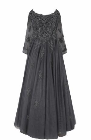 Приталенное платье-макси с вышивкой Basix Black Label. Цвет: светло-серый