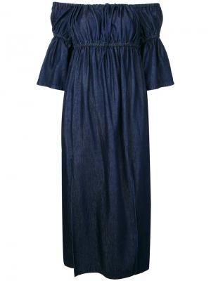 Платье с открытыми плечами Goen.J. Цвет: синий