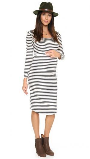 Платье для беременных в полоску с длинными рукавами MONROW. Цвет: коричневый