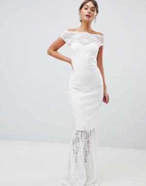 City Goddess Кружевное платье макси с широким вырезом и юбкой годе B. Цвет: белый