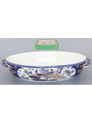 Блюдо шубница для запекания и сервировки Павлин синий Elan Gallery. Цвет: синий, белый