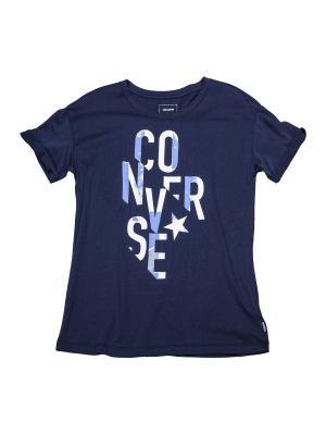 Футболка Converse Typography Fill Easy Crew Tee. Цвет: синий