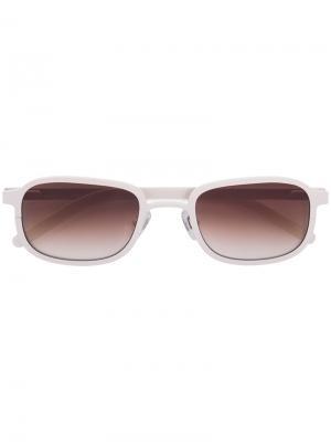 Солнцезащитные очки в стальной оправе Blyszak. Цвет: белый