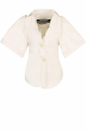 Приталенная хлопковая блуза с коротким рукавом Jacquemus. Цвет: кремовый