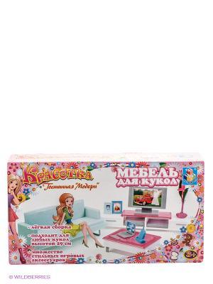 Набор мебели для кукол: гостиная с телевизором - Красотка 1Toy. Цвет: розовый