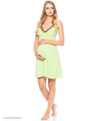 Сорочка для беременных и кормящих FEST. Цвет: зеленый