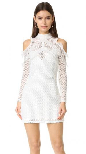 Комбинированное кружевное платье Self Portrait. Цвет: белый