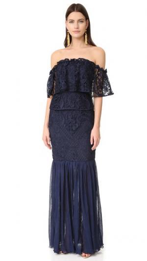 Вечернее платье Like You с оборками Talulah. Цвет: темно-синий