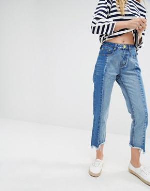 I Love Friday Укороченные джинсы с необработанным краем. Цвет: синий