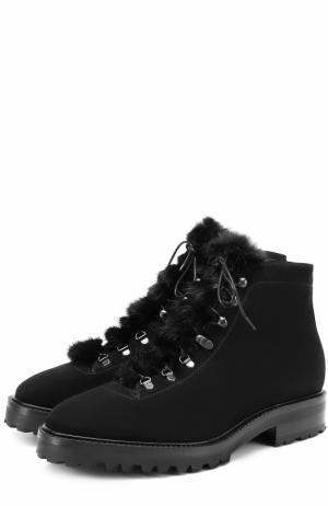 Замшевые ботинки с меховой отделкой Kiton. Цвет: черный