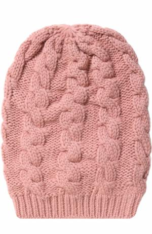 Кашемировая шапка фактурной вязки TSUM Collection. Цвет: розовый