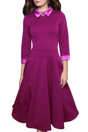 Платье с брошью, рукава 3/4, юбка-пятиклинка Grey Cat. Цвет: фуксия