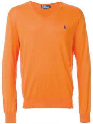 Свитер  с V-образным вырезом Polo Ralph Lauren. Цвет: жёлтый и оранжевый