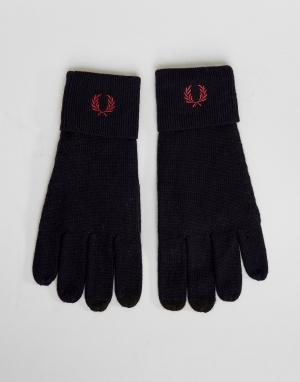 Fred Perry Темно-синие перчатки из мериносовой шерсти с логотипом. Цвет: темно-синий