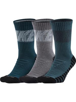 Носки U NK DRYCUSHCREW 3PR-KNURLING Nike. Цвет: темно-зеленый, серый