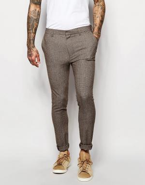 ASOS Коричневые супероблегающие брюки Wedding. Цвет: коричневый