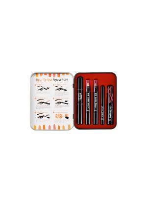 Набор для макияжа (тушь,тушь д/бровей,подводка,тени век,лак губ)Sweet Macaroon  №2 Оrange Touch in sol. Цвет: оранжевый