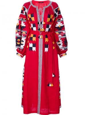 Крестьянское платье с вышивкой Vita Kin. Цвет: красный