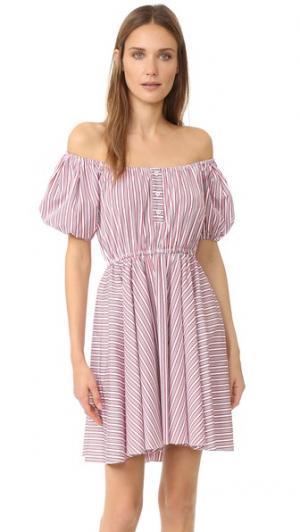 Платье Bardot Caroline Constas. Цвет: красные широкие полосы