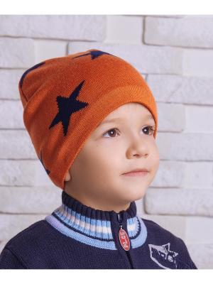 Шапка Logro-kids. Цвет: оранжевый