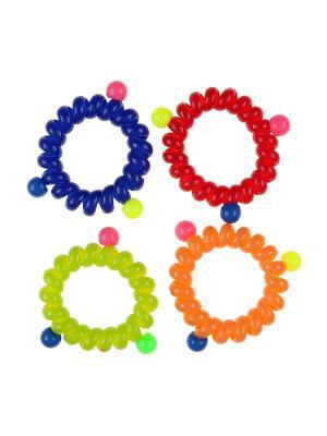 Резинка для волос (4 шт.) Happy Charms Family. Цвет: синий, красный, оранжевый, желтый