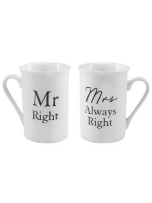 Набор из 2-х чашек Mr Right & Mrs Always Right. Contento. Цвет: белый