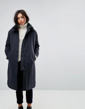 Parka London Длинное пальто с воротником из искусственного меха. Цвет: темно-синий
