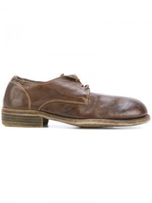 Туфли на шнуровке Guidi. Цвет: коричневый