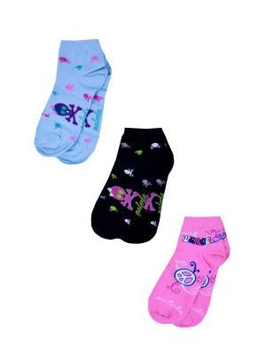 Носки женские,комплект 3шт Malerba. Цвет: голубой, розовый