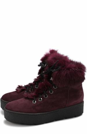 Замшевые ботинки с отделкой из меха кролика Vic Matie. Цвет: бордовый