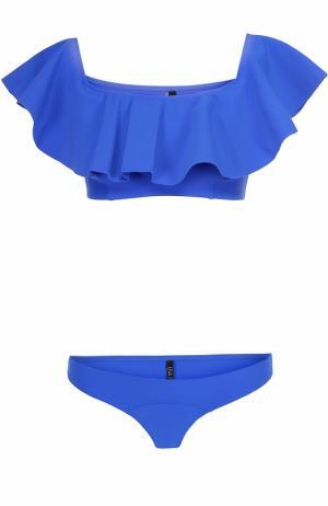 Раздельный купальник с оборкой Lisa Marie Fernandez. Цвет: синий