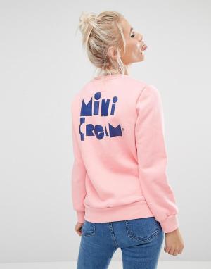 Mini Cream Свитшот с нашивкой на груди. Цвет: розовый