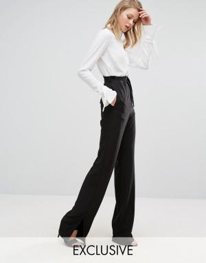 Alter Tall Широкие брюки с поясом и разрезами на штанинах. Цвет: черный